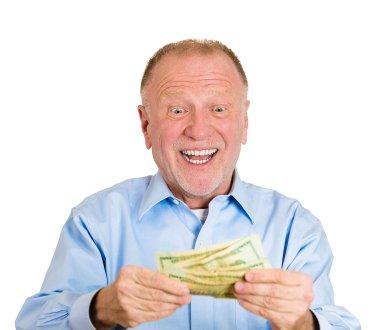 Portrait elderly man Happy to have money, white background